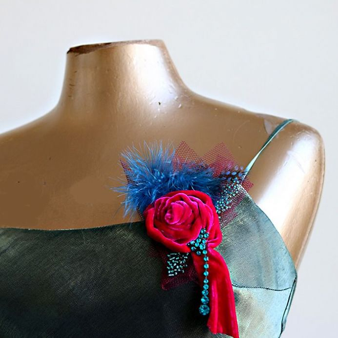 Feather and Velvet Rose Corsage or Hair Accessory